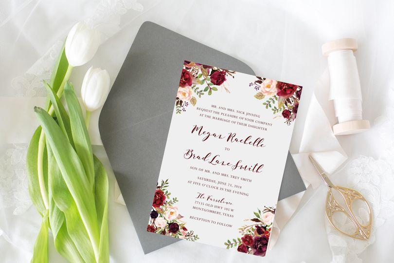 Maroon floral invitation