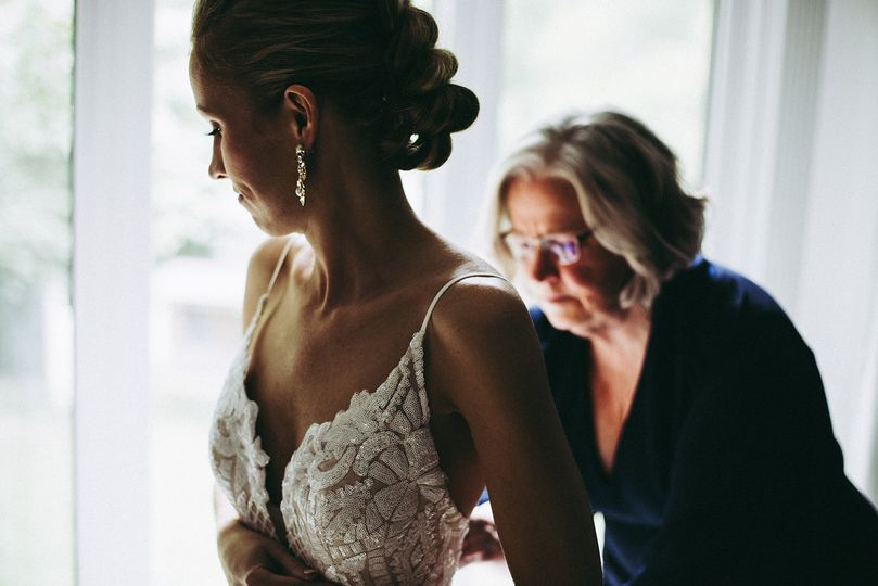 Mother & bride getting ready
