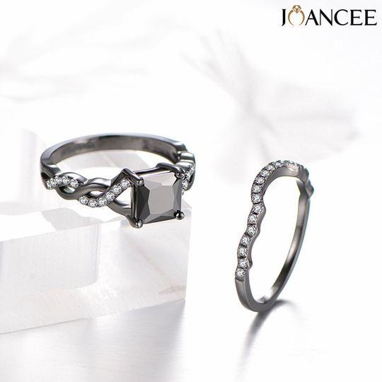 Black bridal ring sets