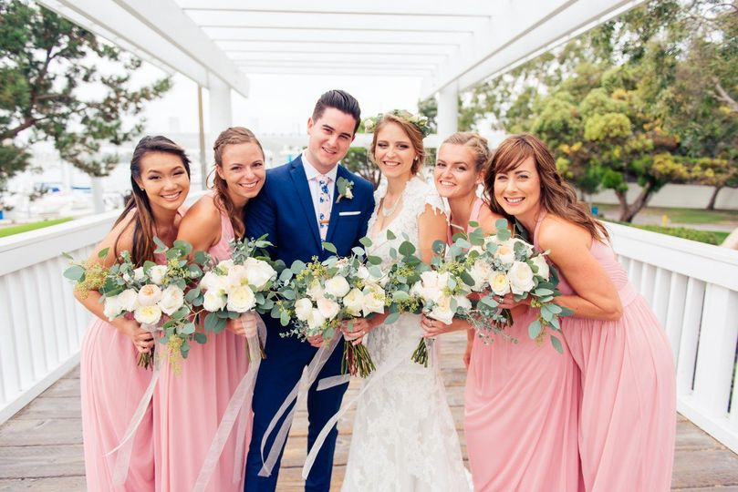 The couple with their bridemaids