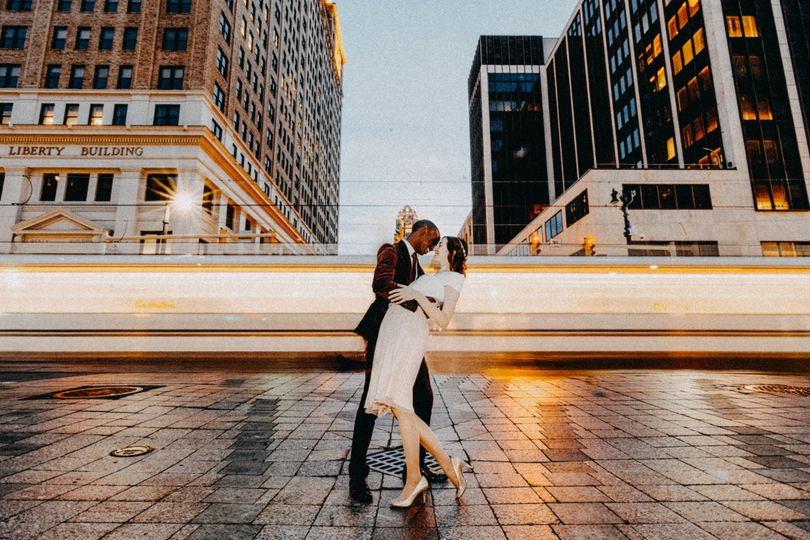 Engagement session in downtown