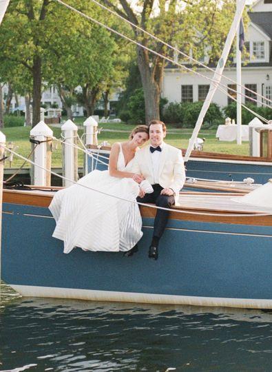 Newlyweds on a sailboat