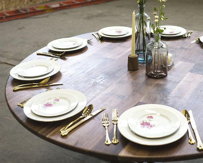 reception table walnut 7