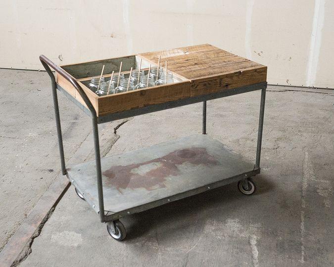 industrial cart mobile bar desert bar