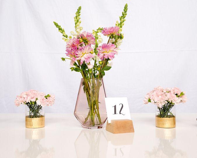geo pink vase centerpiece portland