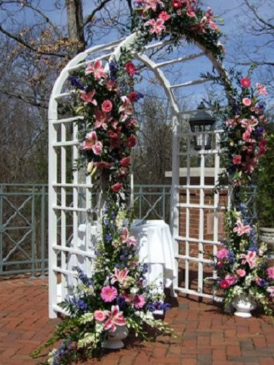 This archway was decorated for a wedding ceremony held that the Westfield Marriott in Chantilly, VA.