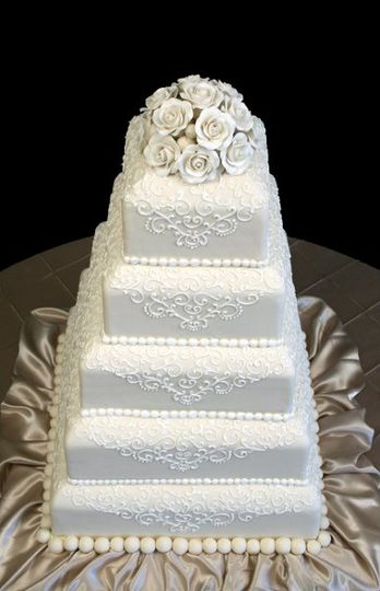 """Five Tier Square Wedding Cake consists of 6"""", 8"""", 10"""", 12"""" and 14"""" tiers. Cake shown is made with..."""