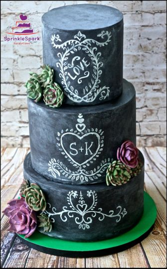 Chalk board Wedding Cake with edible succulents