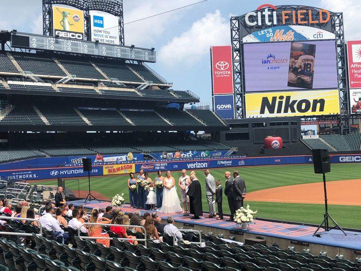 Ceremony top of Mets dugout!