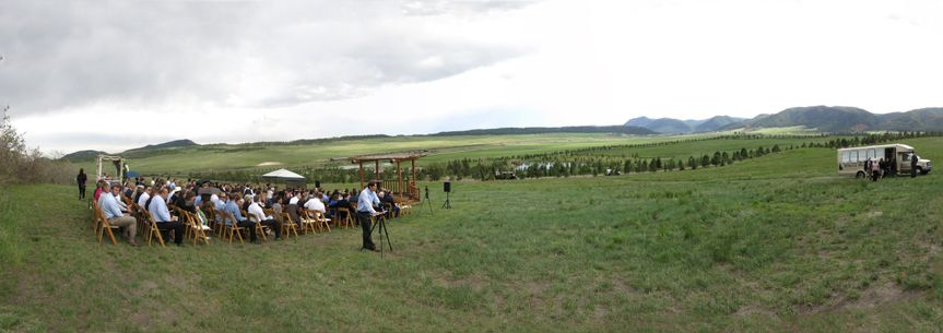 Panorama of the lovely Spruce Mountain Ranch