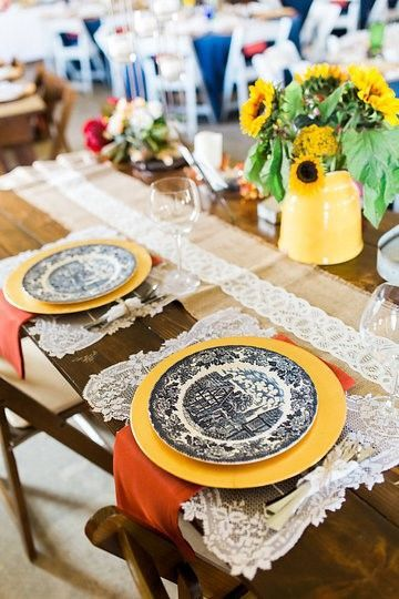 Rustic wedding table setup