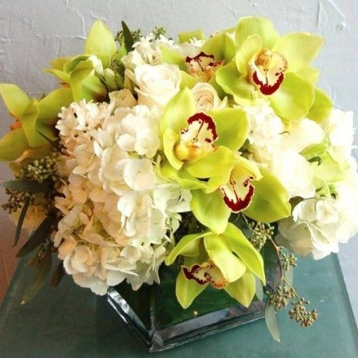 orchids and hydrangeas