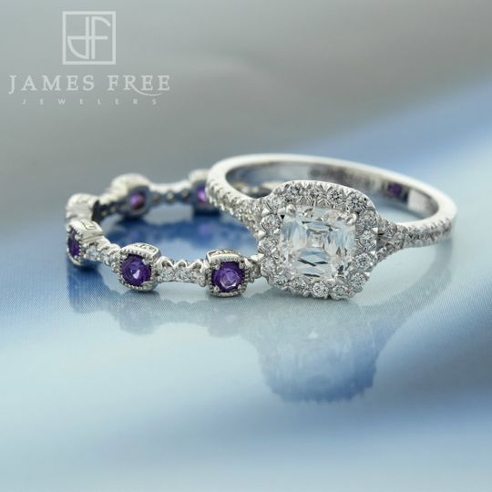 Christopher Designs Diamond Halo Engagement Ring and Amethyst and Diamond Band, James Free Jewelers
