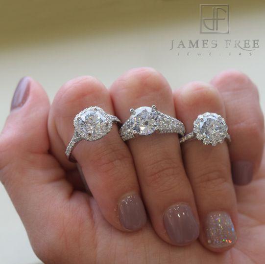 Precision Set Diamond Engagement Rings, James Free Jewelers