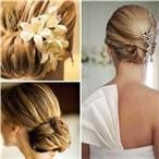 Low lying wrapped ponytails are wonderful to draw attention to a beautiful neckline!