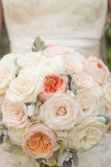 Peach and white floral arrangements