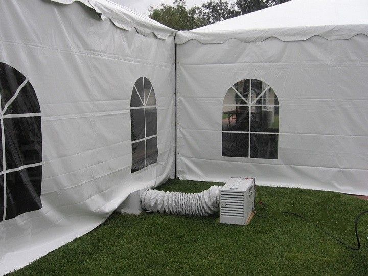 Tent heater set up outside