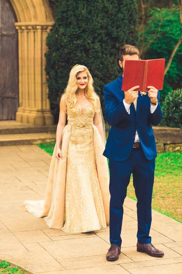 A groom reading a book