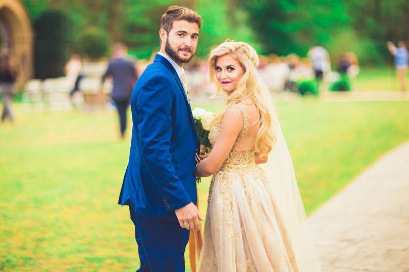 A golden wedding dress