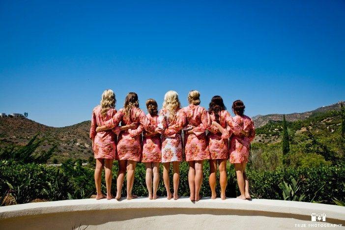 Bridal party enjoying the view