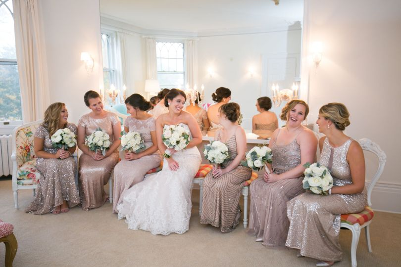 Bride and her bridesmaids in the suite