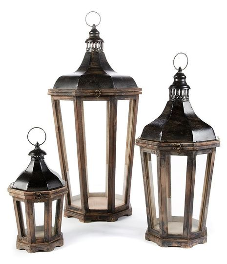 Lanterns ranging in size for centerpieces or ceremony decor and more.