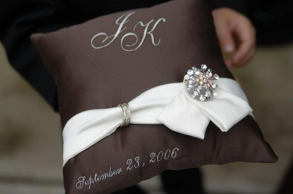Custom ring pillow designed to match wedding gown.