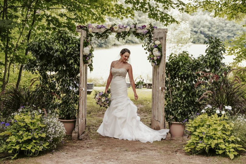 Bride and decorated entry
