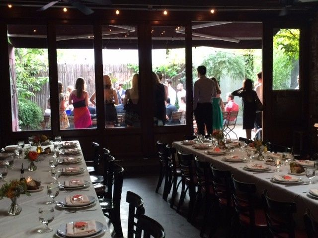 Fall wedding ceremony in the Stable Garden with dinner set up in the Stable for 40 guests.