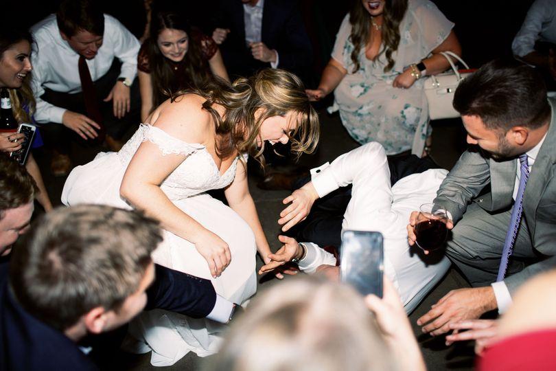 The newlyweds having fun