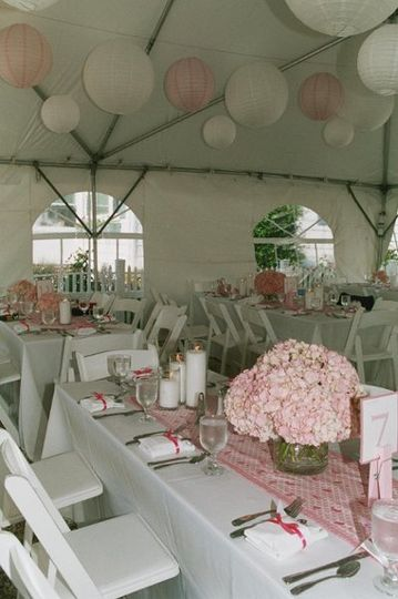 Tented wedding reception at private home in Beach Haven NJ. Hydrangea centerpieces, pink themed.