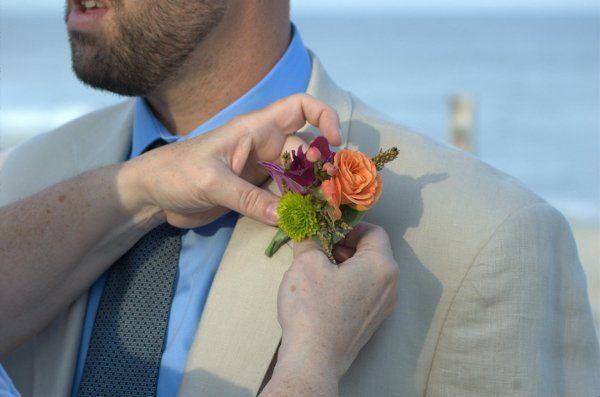Mixed summer boutonniere - Beach Wedding, Beach Haven NJ. Purple Dendrobium, green button mum,...