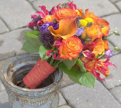 Gorgeous summer bouquet of oranges, yellows, golds, purples. Vibrant & lively!