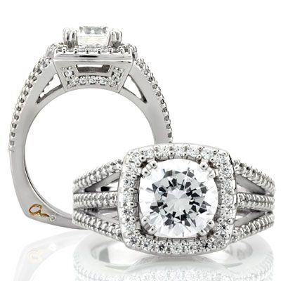 A. Jaffe Engagement ring in 18 karat white gold.
