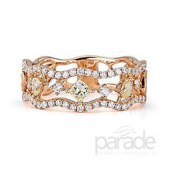 Parade Designs band in Rose gold with yellow, pink and white diamonds.