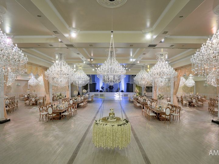 Tmx Ballroom With Floating Cake Drapping And Gold Tables And Chairs 51 645124 1559162508 Tomball, TX wedding venue