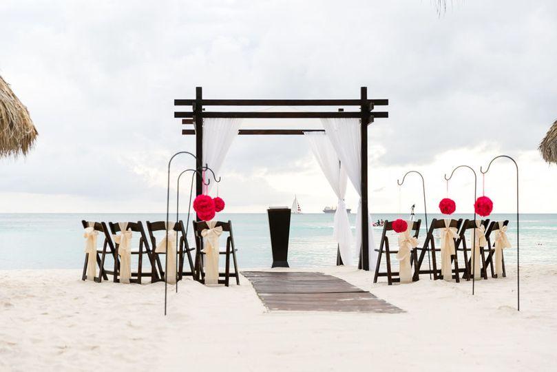 Beach wedding decor and setup