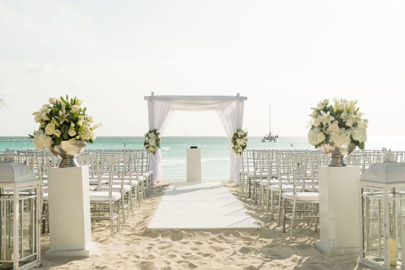 Beach wedding aisle and altar