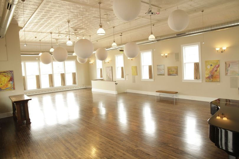 Quincy Hall located on the second floor a very versatile space with sprawling wood floors and high...