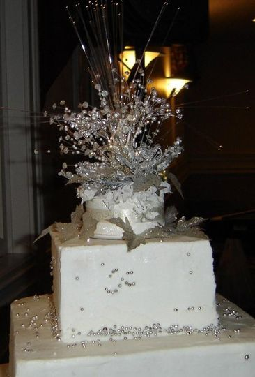 New Year's Eve wedding caketop lighted to resemble fireworks!!!
