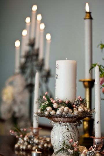 A pink and ivory winter unity candle...