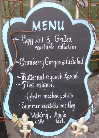 A menu board for a seaside wedding...