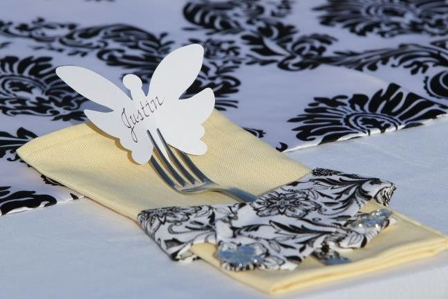 Custom napkins and butterfly place cards
