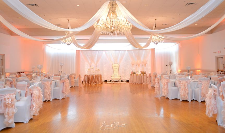 Newly renovated grand ballroom in blush & white
