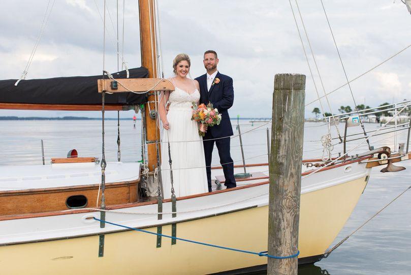Newlyweds on the boat