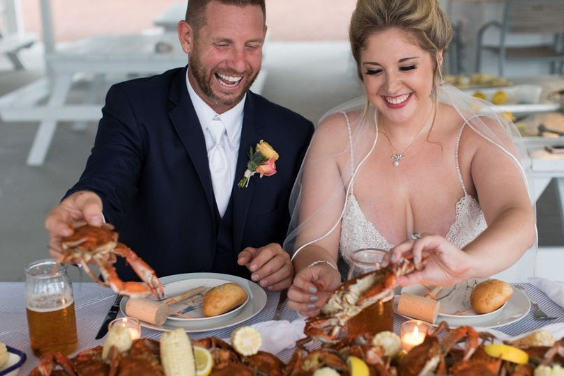 Fresh seafood enjoyed by the newlyweds