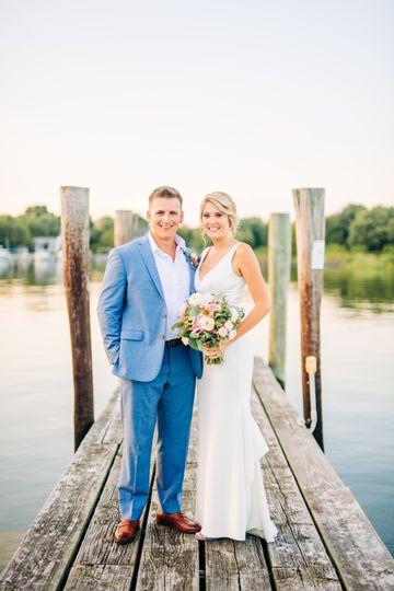 Bride and groom dock