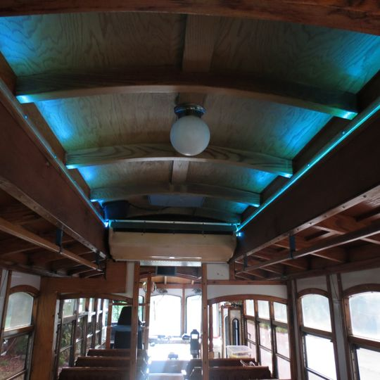 Trolley interior up lighting for setting the right tone for your wedding or rehearsal events.
