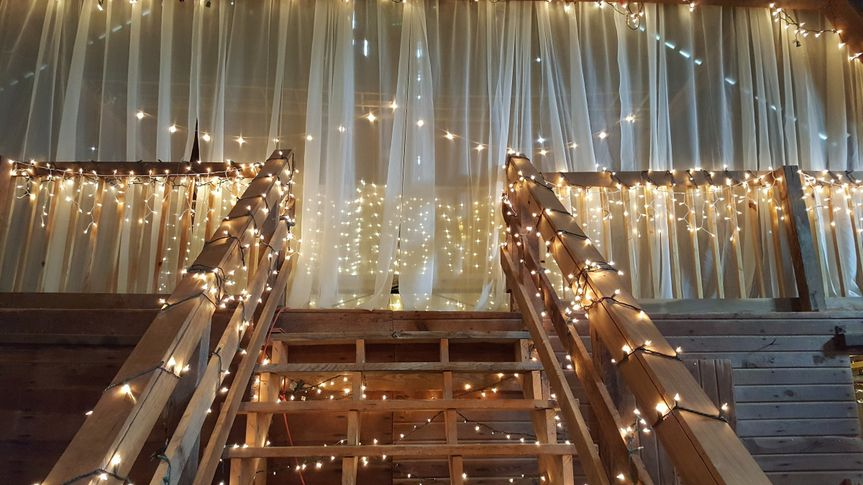 Stairs decorated in string lights