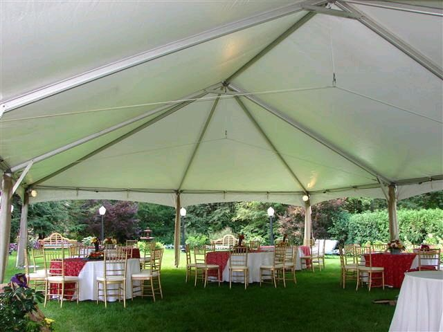 Inside view of a frame tent